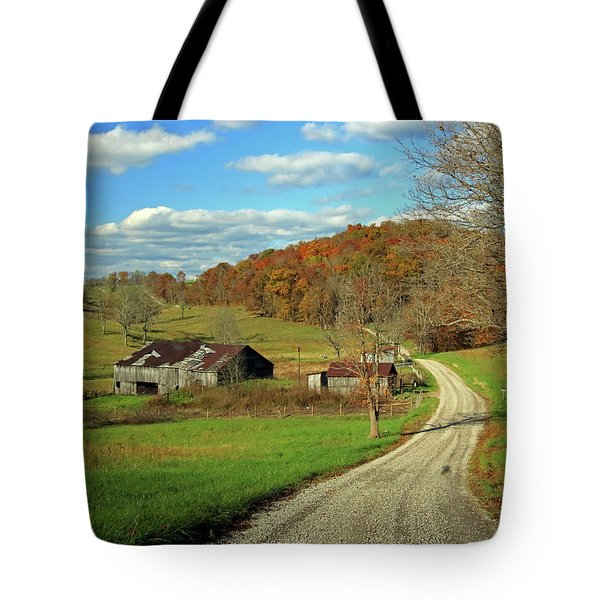 Tote Bag featuring the photograph A Farm On An Autumn Day by Angela Murdock