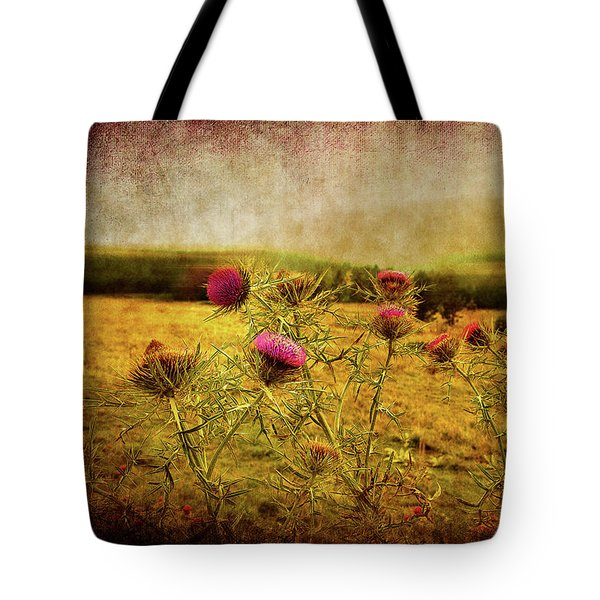 Tote Bag featuring the photograph A Field Covered With Mist by Milena Ilieva