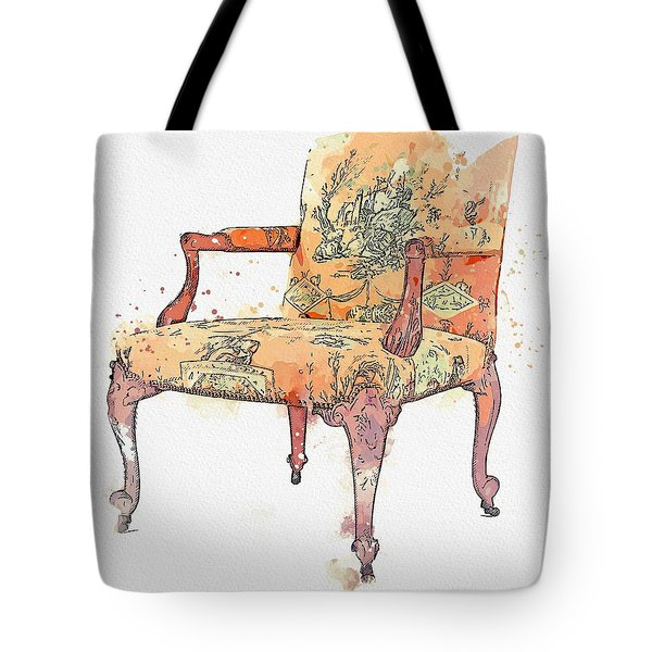 A George II Mahogany Armchair, Circa 1755, In The Manner Of Paul Saunders Watercolor By Ahmet Asar Tote Bag