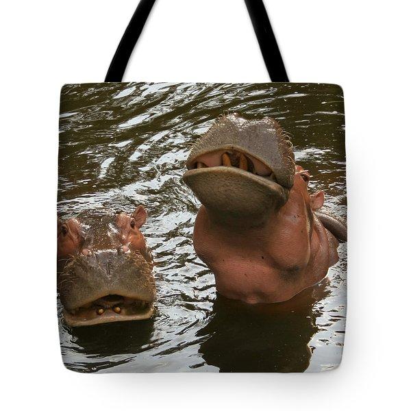 A Hippopotamus Pair In The Water Tote Bag