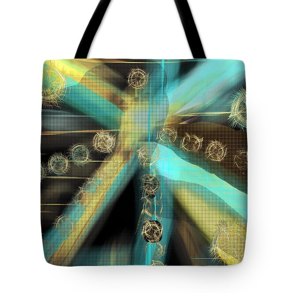 A Light Beams In Gold Brown And Blue Tote Bag