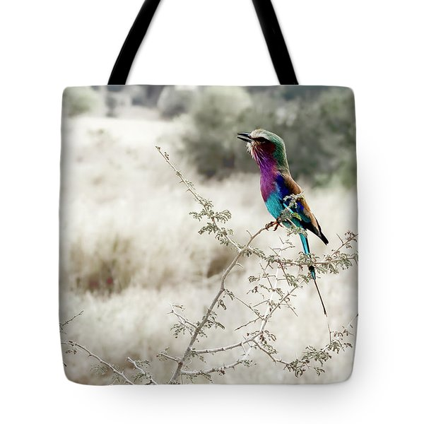 A Lilac Breasted Roller Sings, Desaturated Tote Bag