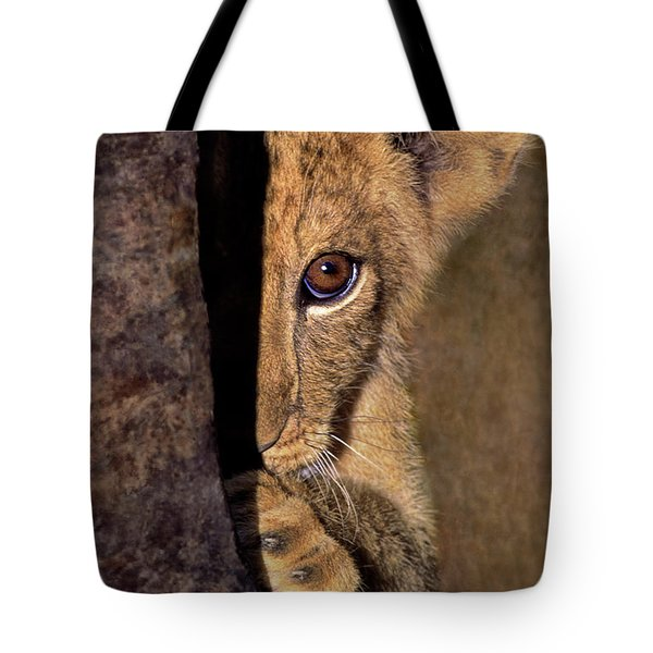 A Lion Cub Plays Hide And Seek Wildlife Rescue Tote Bag