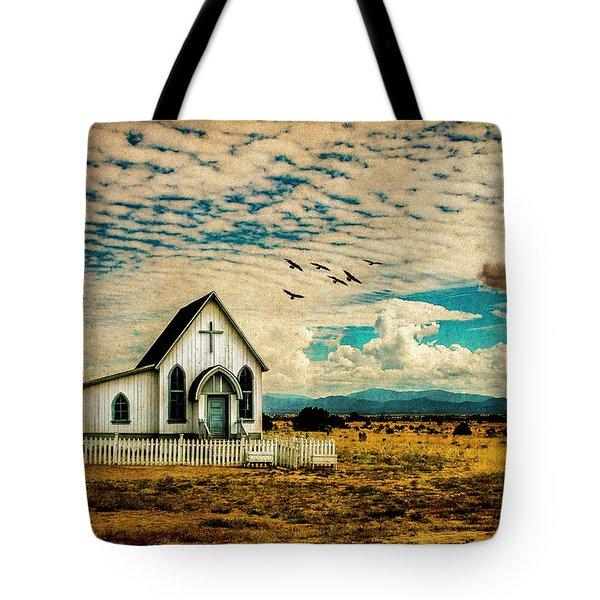 A Lone Prairie Church Tote Bag