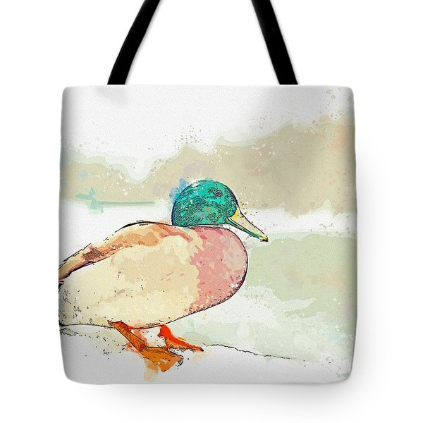 A Migrating Loon, Oslo, Norway -  Watercolor By Adam Asar Tote Bag