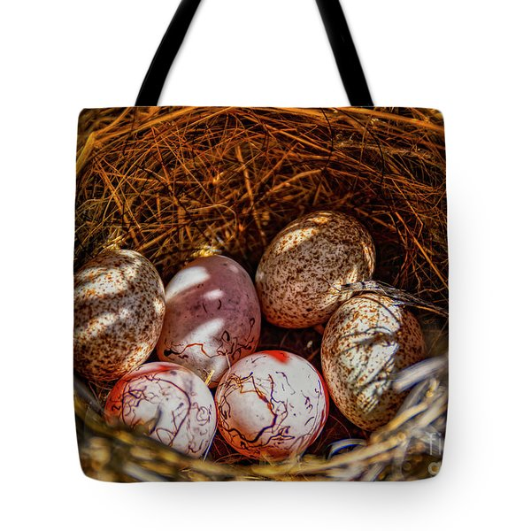 A Nest Of Cactus And Hay On The Ground Tote Bag