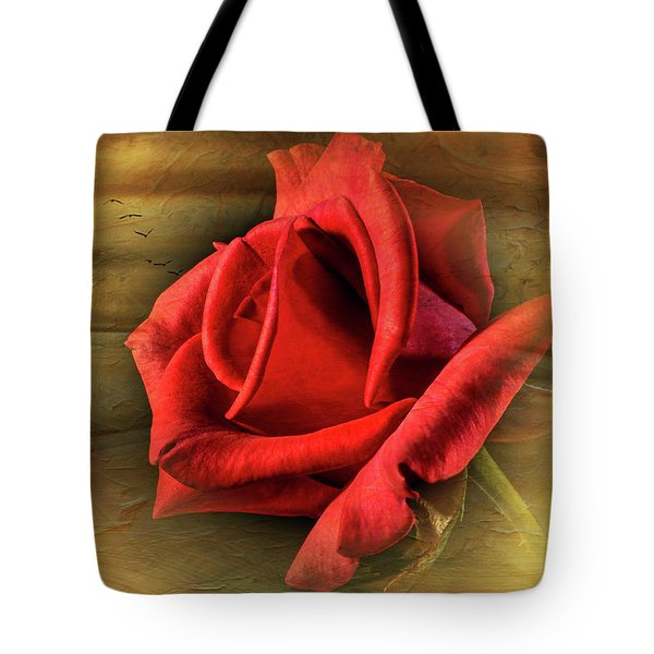 A Red Rose On Gold Tote Bag