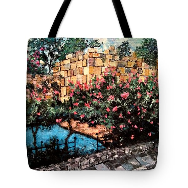 Tote Bag featuring the painting A Roman Wall by Ray Khalife