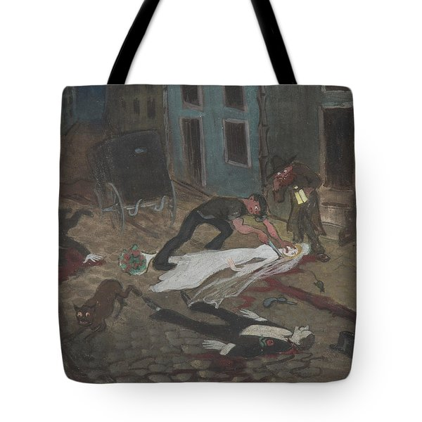 Tote Bag featuring the drawing A Scary Nighttime Scene by Ivar Arosenius