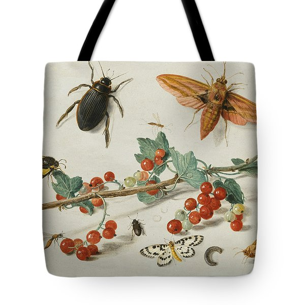 A Sprig Of Redcurrants With An Elephant Hawk Moth, A Ladybird, A Millipede And Other Insects Tote Bag