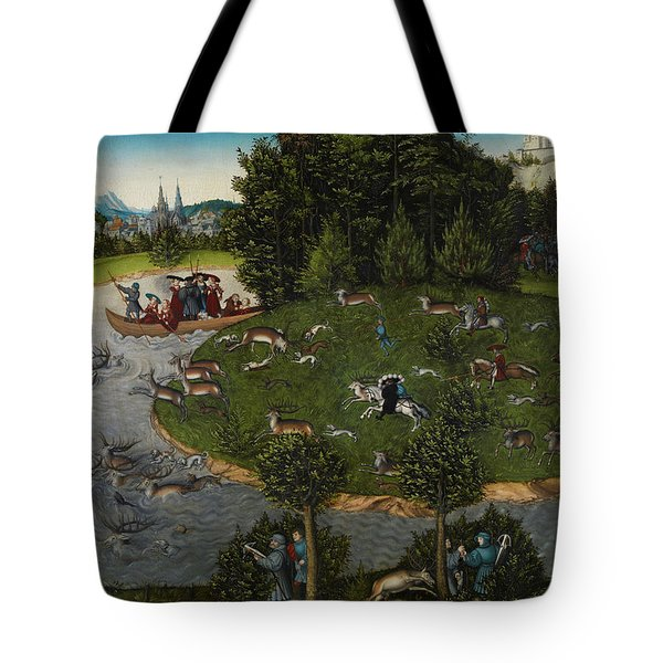 A Stag Hunt With Frederick IIi, Elector Of Saxony Tote Bag