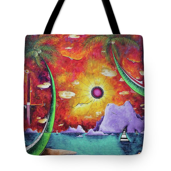A Stunning Tropical Surrealist Sunset Ocean Painting A World Awaits By Madart Tote Bag