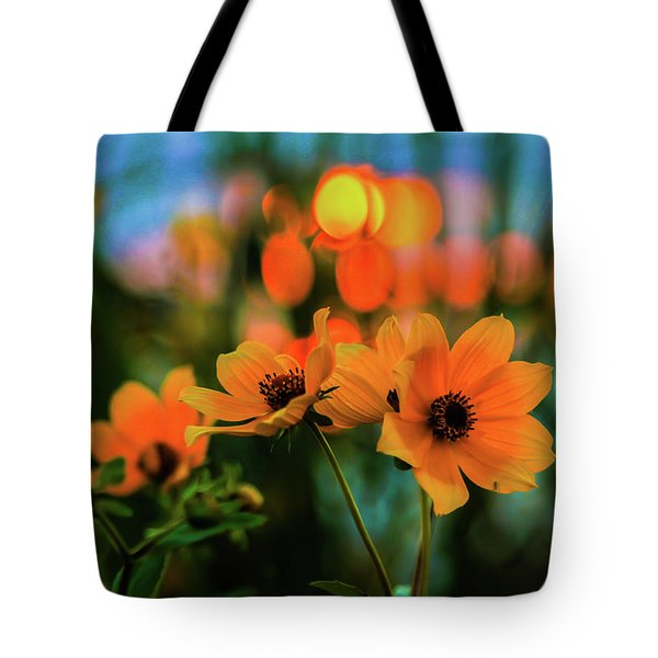 Sunflower Bokeh Sunset Tote Bag