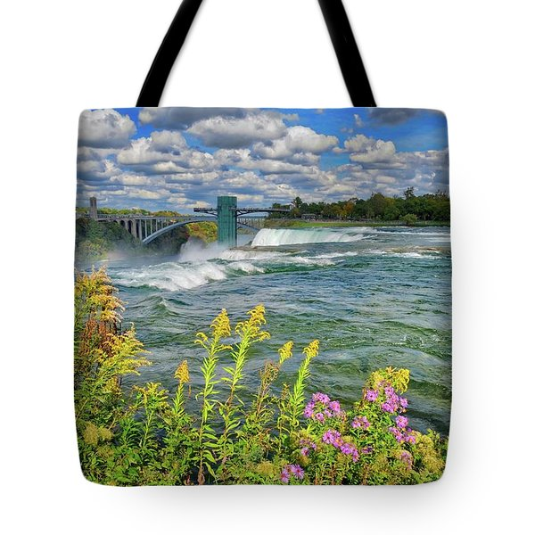 Tote Bag featuring the photograph A Touch Of Summer In Fall At Niagara Falls, New York by Lynn Bauer
