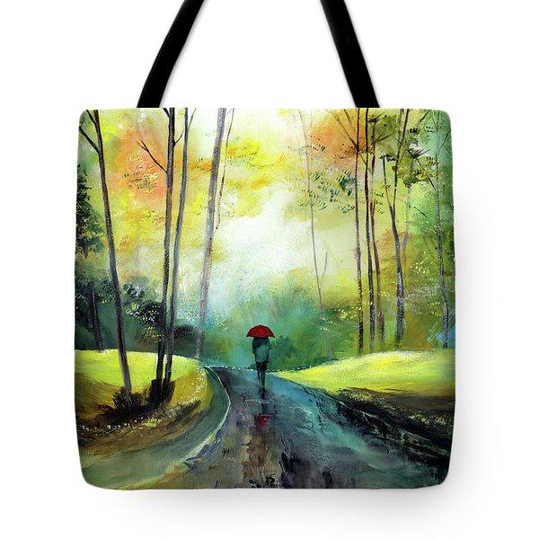 A Walk In The Rain Tote Bag