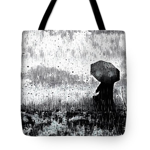 Tote Bag featuring the mixed media A Walk In The Rain by Susan Maxwell Schmidt