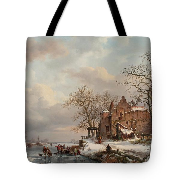 A Winter Landscape With Skaters On A Frozen River, 1862 Tote Bag