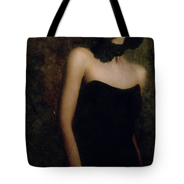 A Woman Wearing A Black Dress And Necklace Tote Bag