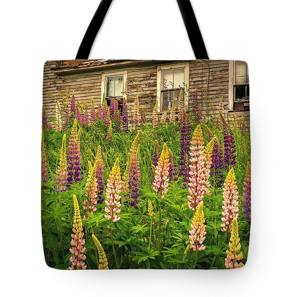 Abandoned Maine Farm Lupines Tote Bag