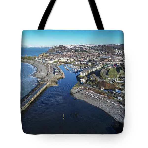 Aberystwyth Harbour From The Air In Winter Tote Bag