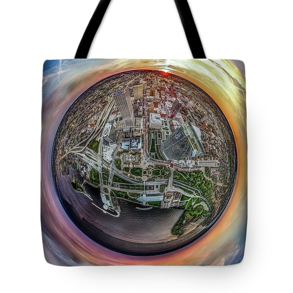 Tote Bag featuring the photograph Above The Calling Little Planet by Randy Scherkenbach