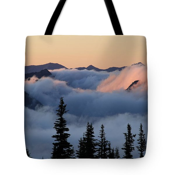 Above The Clouds Sunrise Tote Bag