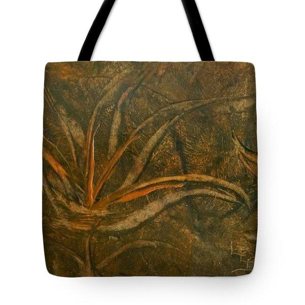 Abstract Brown/orange Floral In Encaustic Tote Bag