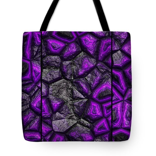 Abstract Deep Purple Stone Triptych Tote Bag