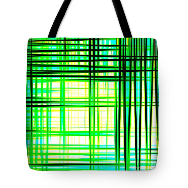 Abstract Design With Lines Squares In Green Color Waves - Pl409 Tote Bag