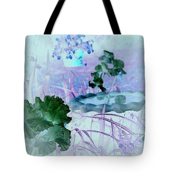 Tote Bag featuring the digital art Abstract Garden Birdbath by Robert G Kernodle