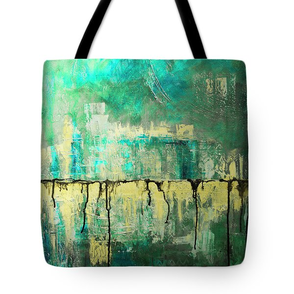 Abstract In Yellow And Green 2 Tote Bag