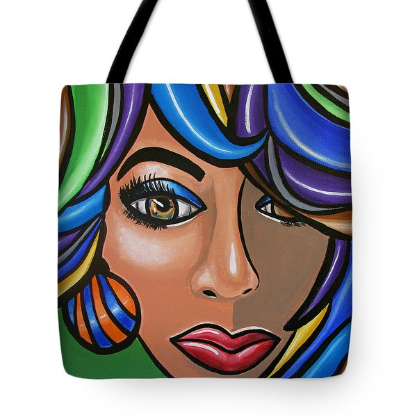 Abstract Woman Artwork Abstract Female Painting Colorful Hair Salon Art - Ai P. Nilson Tote Bag