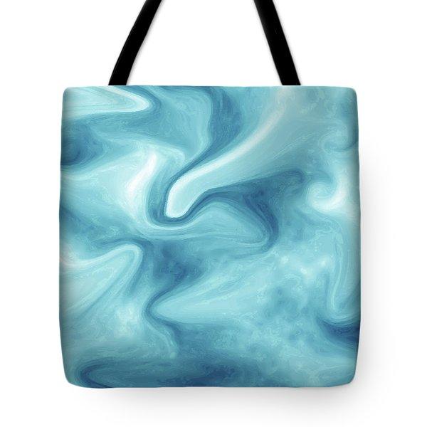 Abstract Navy Blue Liquid Tote Bag