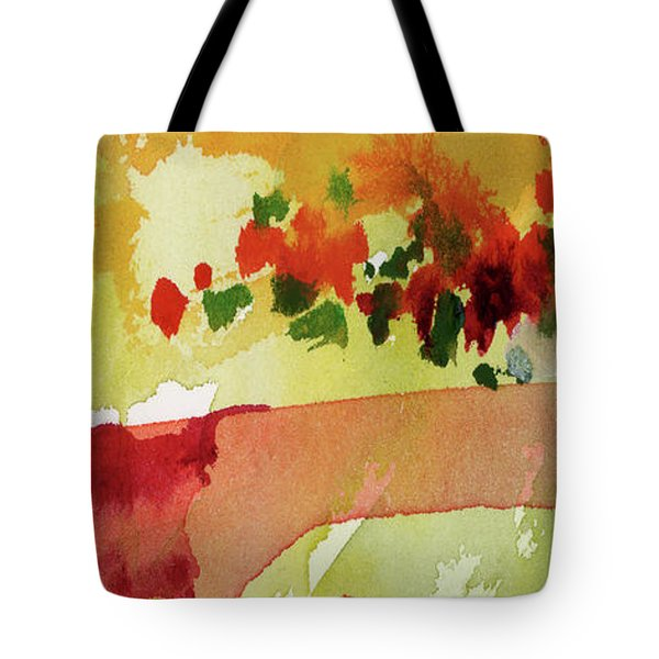 Tote Bag featuring the painting Abstract Red Poppies Panorama by Ginette Callaway