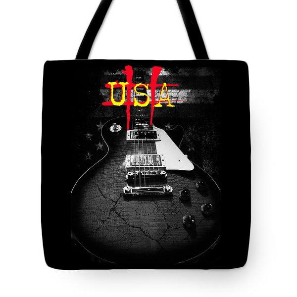 Abstract Relic Guitar Usa Flag Tote Bag