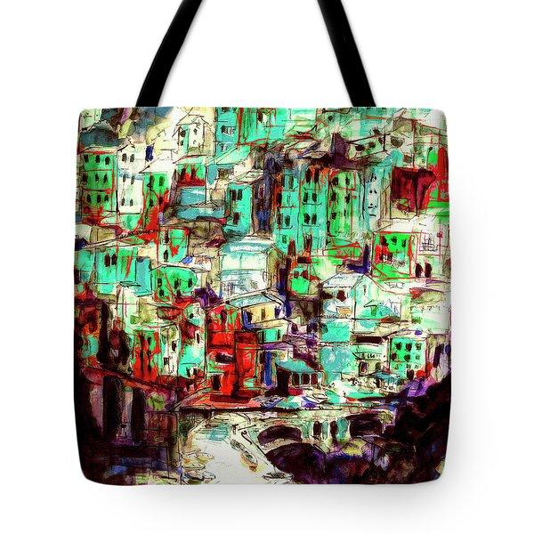 Abstract Riomaggiore Cinque Terre Art Tote Bag