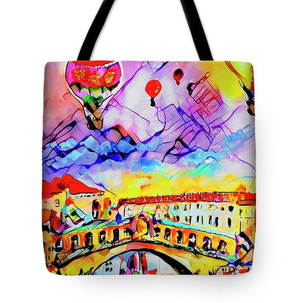 Abstract Venice Rialto Bridge Balloons Tote Bag