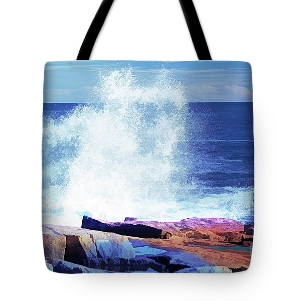Crashing Waves At Schoodic Point Abstract Tote Bag