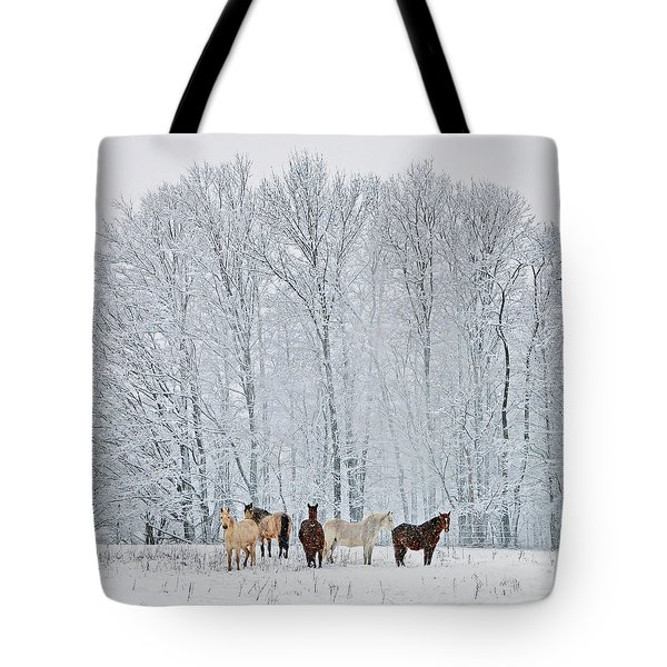 Add A Touch Of Horses To The Winter Magic Tote Bag