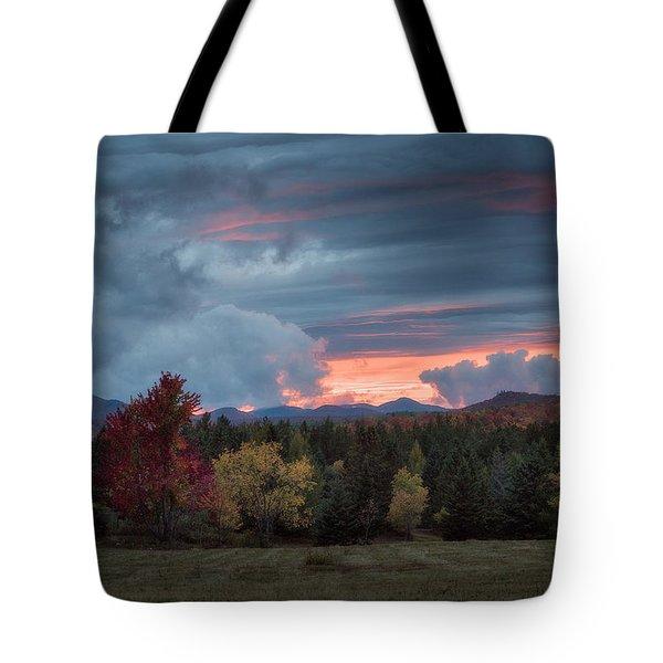 Adirondack Loj Road Sunset Tote Bag