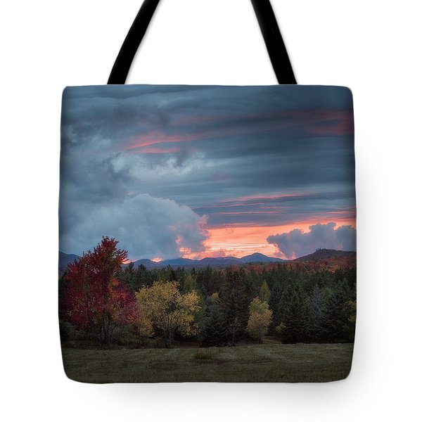Tote Bag featuring the photograph Adirondack Loj Road Sunset by Brad Wenskoski