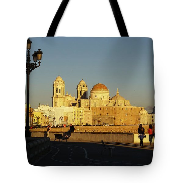 Tote Bag featuring the photograph adiz Cathedral from Southern Field Spain by Pablo Avanzini