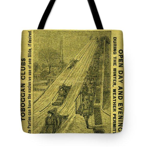 Advertisement For The First Toboggan Slide In Philadelphia Tote Bag