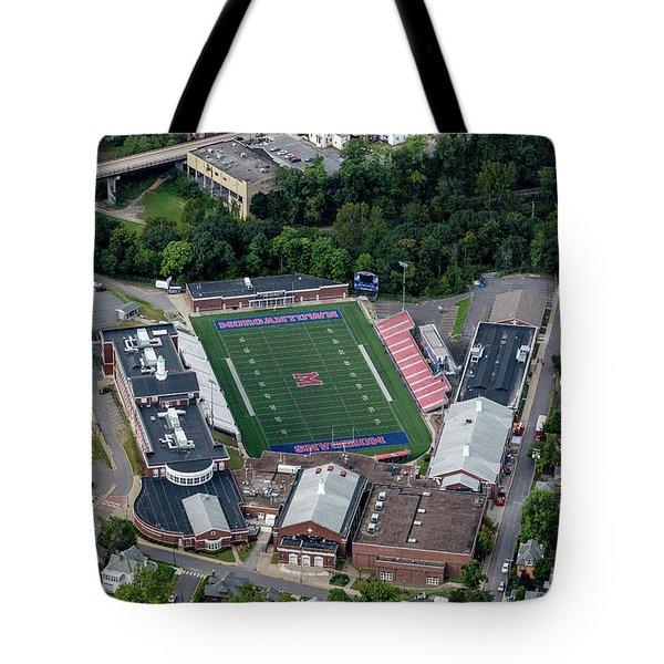 Aerial Of Mhs Football Field And School Tote Bag