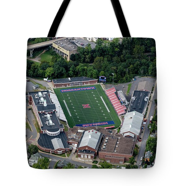 Aerial Of Mhs Football Field And School Tote Bag