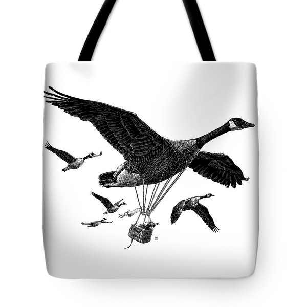 Tote Bag featuring the drawing Aero Canada - Bw by Clint Hansen