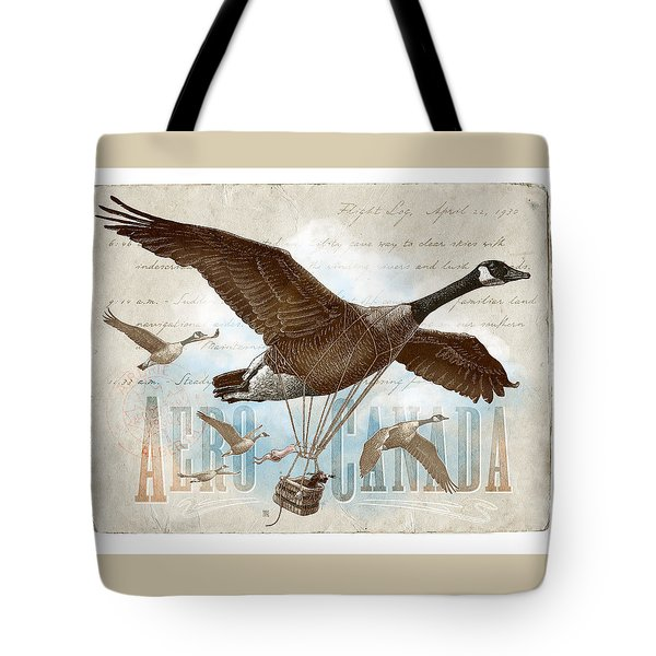 Tote Bag featuring the drawing Aero Canada by Clint Hansen