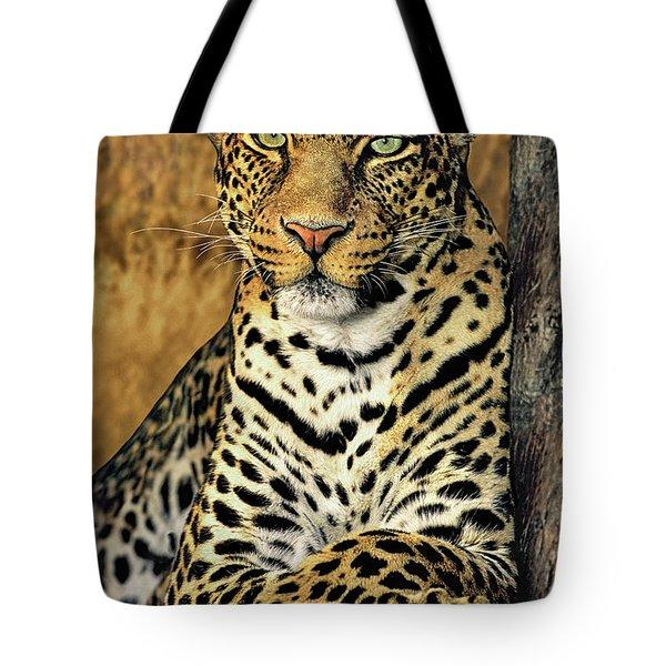 African Leopard Portrait Wildlife Rescue Tote Bag