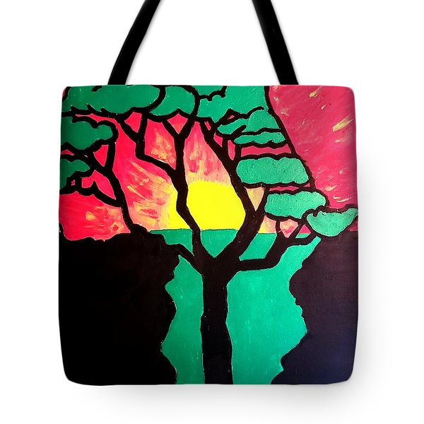 Tote Bag featuring the painting African Sunset  by Christopher Farris