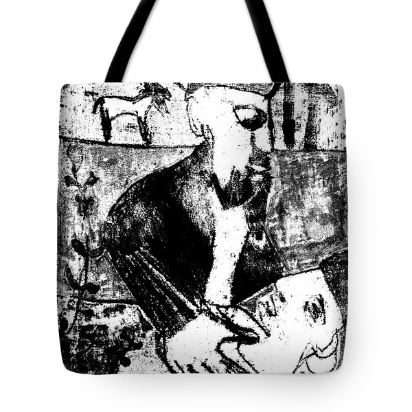 After Childish Edgeworth Black And White Print 26 Tote Bag